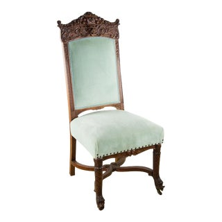 Carved Fruitwood Antique Victorian Accent Chair