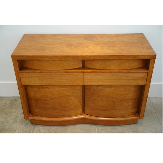 Teak Bow Front Cabinet - Image 4 of 7