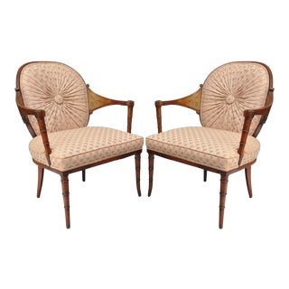 Vintage Faux Bamboo Hollywood Regency Arm Chairs - A Pair