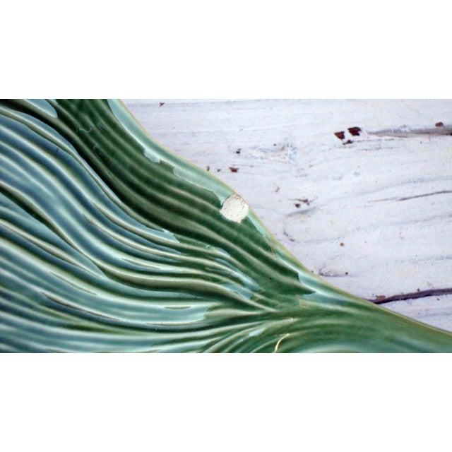 Antique Portuguese Green Leaf Majolica Ceramic - Image 6 of 10