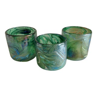 Artisan Glass Candleholders - Set of 3