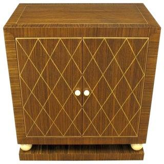 Art Deco Revival Macassar Ebony and Beechwood Two-Door Cabinet
