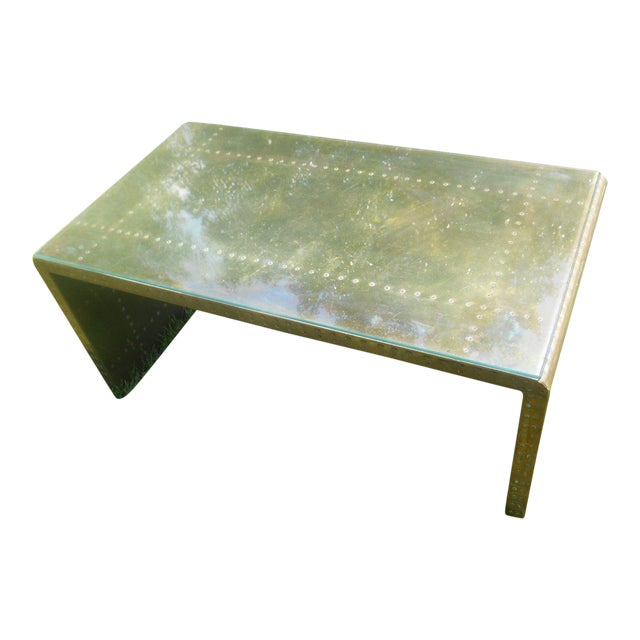 Vintage hollywood regency mid century brass studded for Coffee table with studs