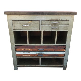 Vintage Bow Printing Equipment Steel & Wood Printer's Workbench