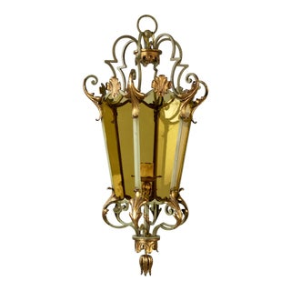 Italian Six Panel Gilt and Amber Glass Hall Lantern C.1920