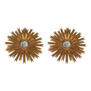 Sculptural Gold Leaf Sunburst Mirrors