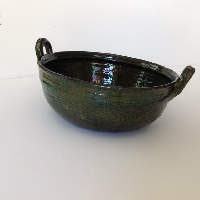 Vintage Rustic Green Studio Pottery Bowl - Image 4 of 9