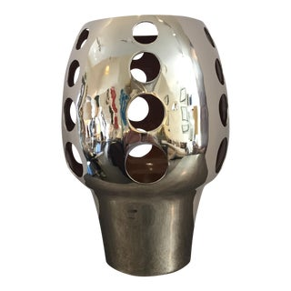 Chrome Plated Candle Holder Object