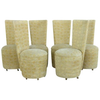 James Mont Style Custom-Made Upholstered Dining Chairs on Casters - Set of 6