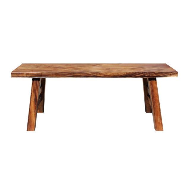 Asian style zen natural wood double seat plank bench