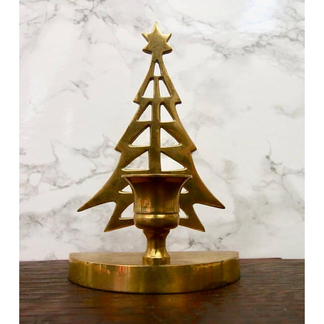 Vintage Brass Christmas Tree Taper Candle Holder - Image 2 of 4