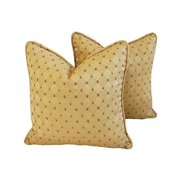 Custom French Golden Fleur-De-Lis Pillows - A Pair - Image 1 of 7