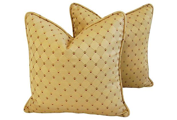 Custom French Golden Fleur De Lis Pillows A Pair Chairish