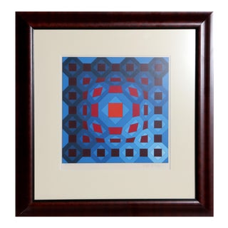 Red and Blue Geometric by Victor Vasarely