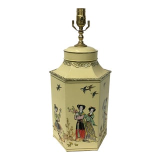 English Export Hexagon Chinoiserie Tea Canister Lamp