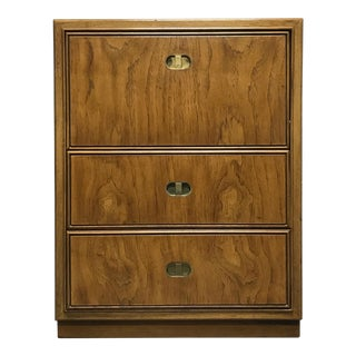 DREXEL HERITAGE Preface Pecan Campaign Chinoiserie Chest / Nightstand