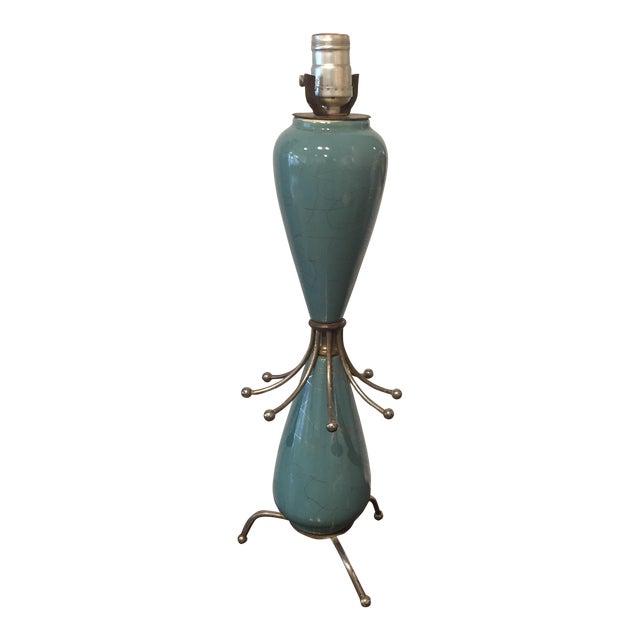 Image of 1950s Aqua Ceramic Sputnik Lamp