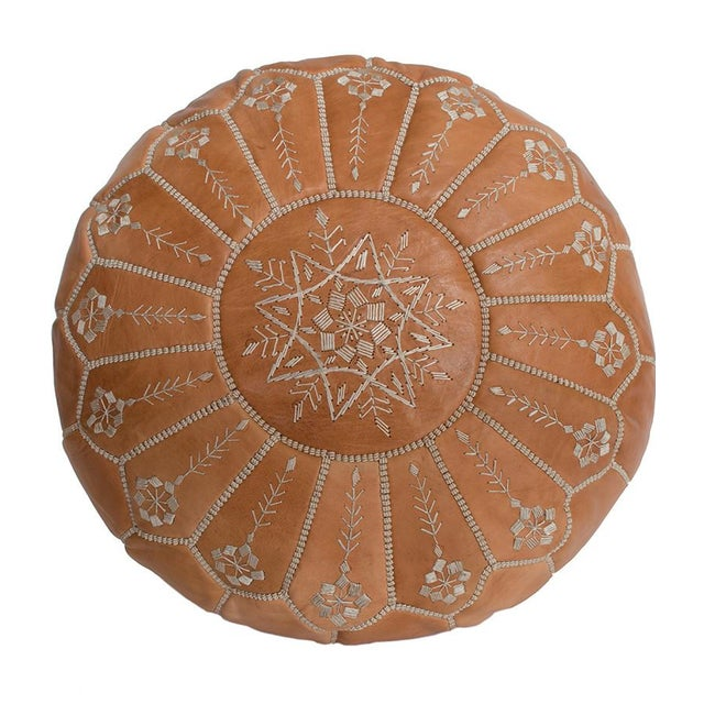 Embroidered Natural Desert Starburst Leather Pouf - Image 1 of 3