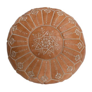 Embroidered Natural Desert Starburst Leather Pouf