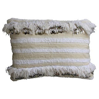 Moroccan Berber Pillow With Sequins & Fringe