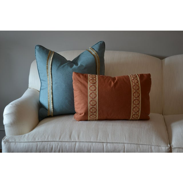 14 X 20 Rust Lumbar Pillow With Kravet Accent Tape Chairish