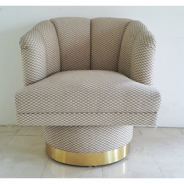 Image of Brass Barrel Back Mid Century Accent Chair
