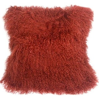 Mongolian Sheepskin Red 18x18 Pillow