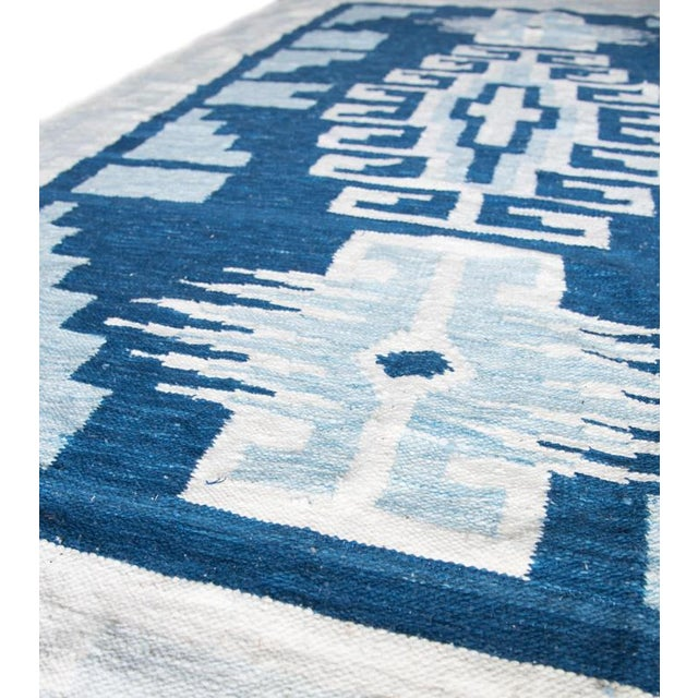 Image of Blue & White Handwoven Geometric Rug - 5′ × 8′6″