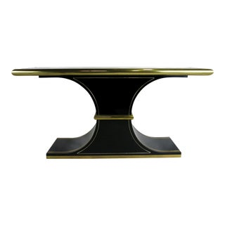 Lacquer and Brass Console by Mastercraft