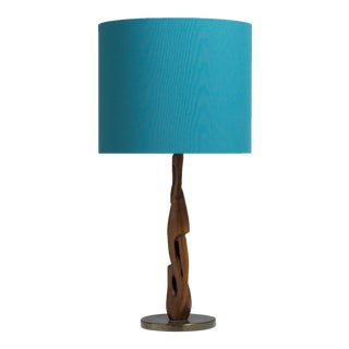 A Single Sculptural Wood and Brass Table Lamp 1970s