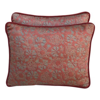 Rust Printed Cotton Fortuny Pillows - A Pair