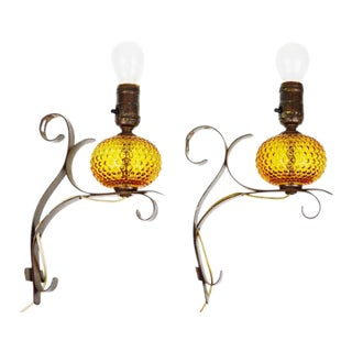 Vintage Amber Bubble Glass Wall Sconces- A Pair