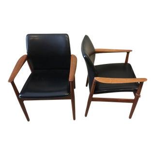 Grete Hall Teak & Vinyl Chairs - A Pair