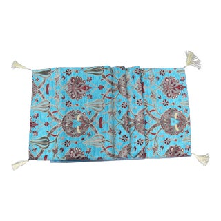 Ottoman Turquoise Floral Tulip Table Runner or Bed Throw