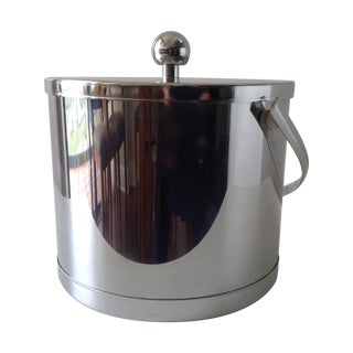 Vintage Chrome Ice Bucket With Tongs