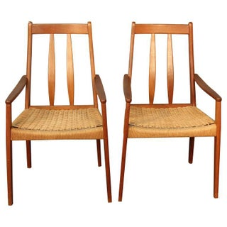 Danish Teak High Back Armchairs - A Pair