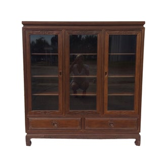 Asian Style Hand-Carved Rosewood Curio Cabinet