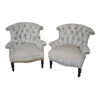 French 19th Century Pair of Napoleon III Tufted Armchairs in Muslin