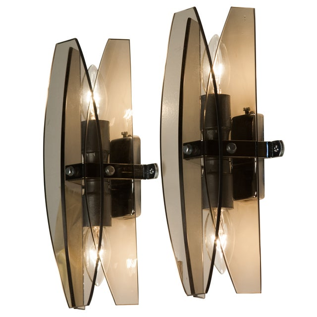 Image of Veca Smoky Gray Glass Sconces- A Pair
