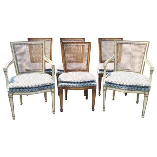 Louis XV Style Caned Dining Chairs - Set of 6