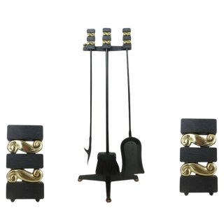 Donald Deskey Andirons and Fireplace Tools by Bennett Co.