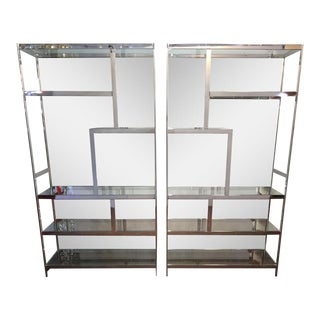 Milo Baughman Mirrored Back Chrome Etageres - A Pair
