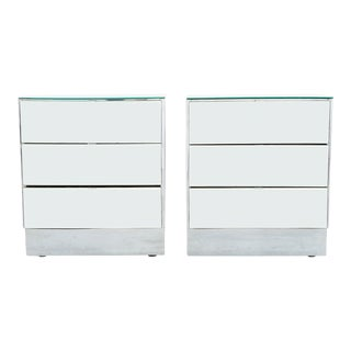 Set of Mirrored Glass Night Stands