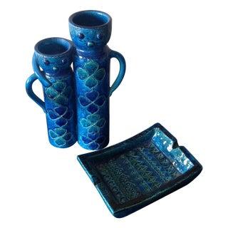 Rimini Blue Vase & Dish by Aldo Londi - Pair