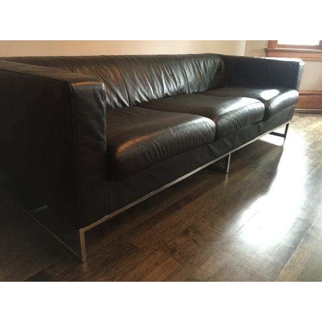 Image of Modern Black Leather Sofa
