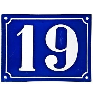 "Vintage French ""19"" Enamel House Number"