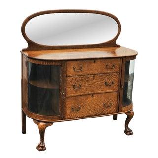Antique Larkin Tiger Oak Curved Curio Glass Mirrored Buffet Sideboard Server