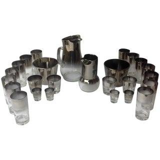 Mid Century Silver Ombre Barware Set - 26 Pieces
