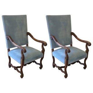 French Carved Walnut & Velvet Armchairs - a Pair