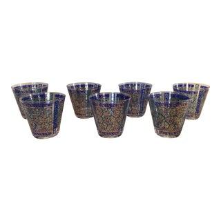 Blue & Gold George Briard Glasses - Set of 7